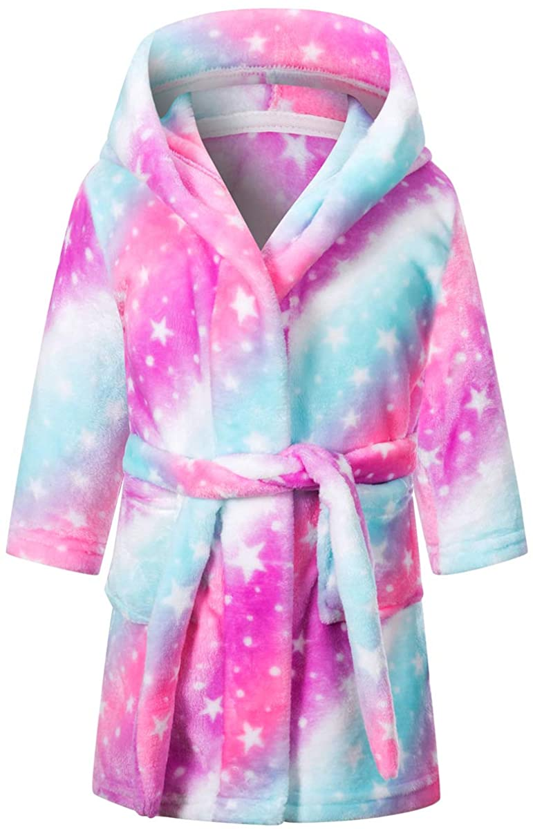 Betusline Kids & Adults Robe, Boys Girls Toddler Baby Flannel Soft Bathrobes, 18 Months - Women XL