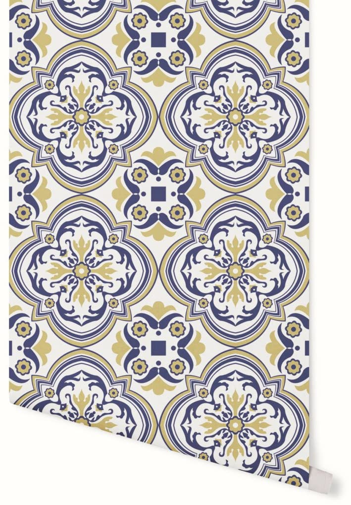 NISH! Tile Pattern Wallpaper #010-07 | Vinyl Wall Covering (Self-Adhesive Vinyl, 64sqft - 50'' Width roll, 16ft Length, 64 sqft)