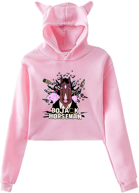 Boja-Ck Hors-Eman Ladies Cat Ear Hoodies Sexy Navel Sweatshirt Black