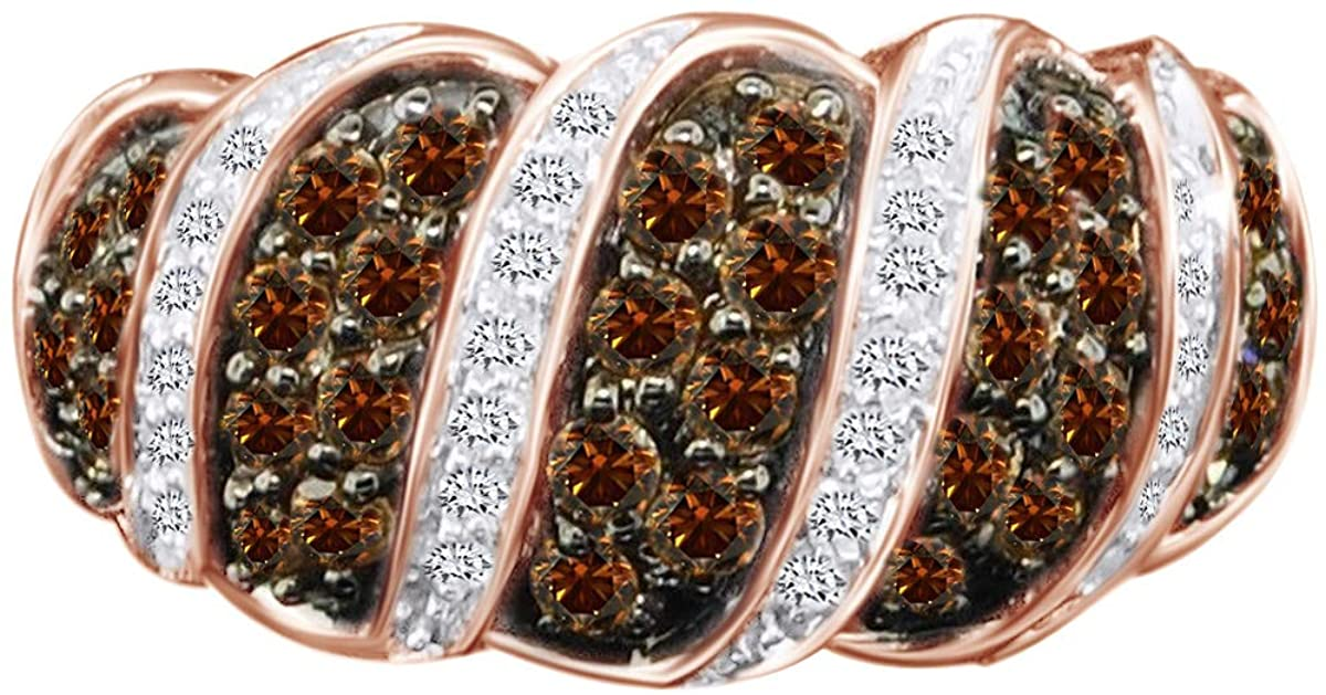 1.48 Cttw Champagne Brown & White Natural Diamond Wedding Band Ring In 14K Solid Gold