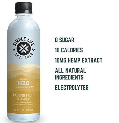 Simple Life Passion Fruit & Apple Flavored Water, Hemp Infused, Zero Sugar, All Natural, 16.9 oz, 12 Pack