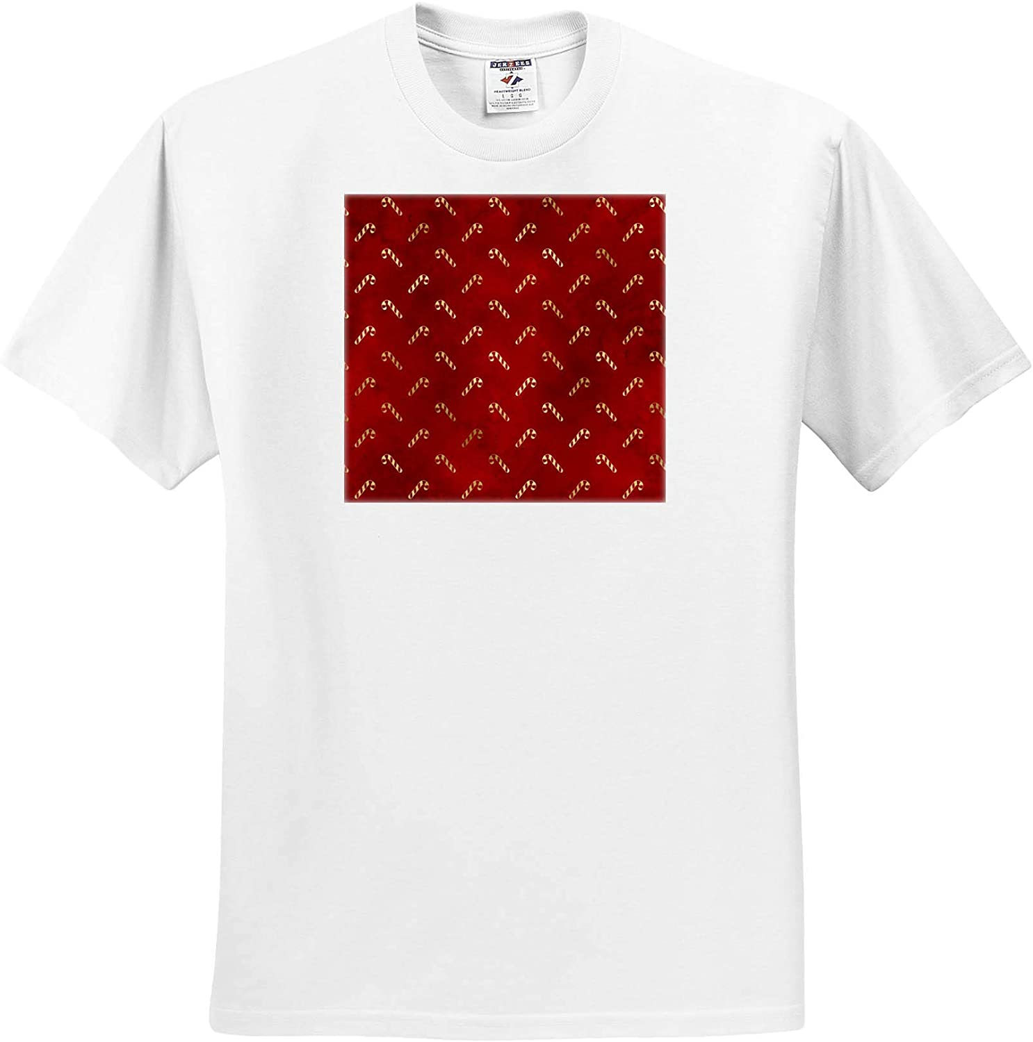 3dRose Cute Image of Gold and Red Candy Cane Pattern - T-Shirts (ts_328168)