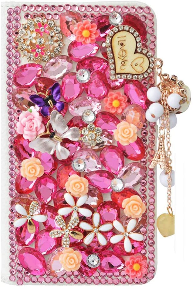 STENES Bling Wallet Phone Case Compatible with iPhone 12 Pro 6.1 inch 2020 Case - Stylish - 3D Handmade Heart Pendant Butterfly Flowers Magnetic Wallet Stand Leather Cover Case - Pink