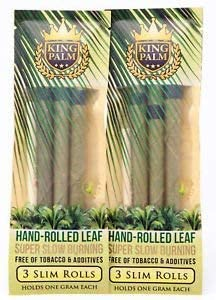 King Palm King Size Natural Pre Wrap Palm Leafs (2 Packs of 3, 6 Rolls Total) - Pre Rolled Cones - All Natural Cones - Corn Husk Filter - Preroll Cones - Prerolled Cones with Filter
