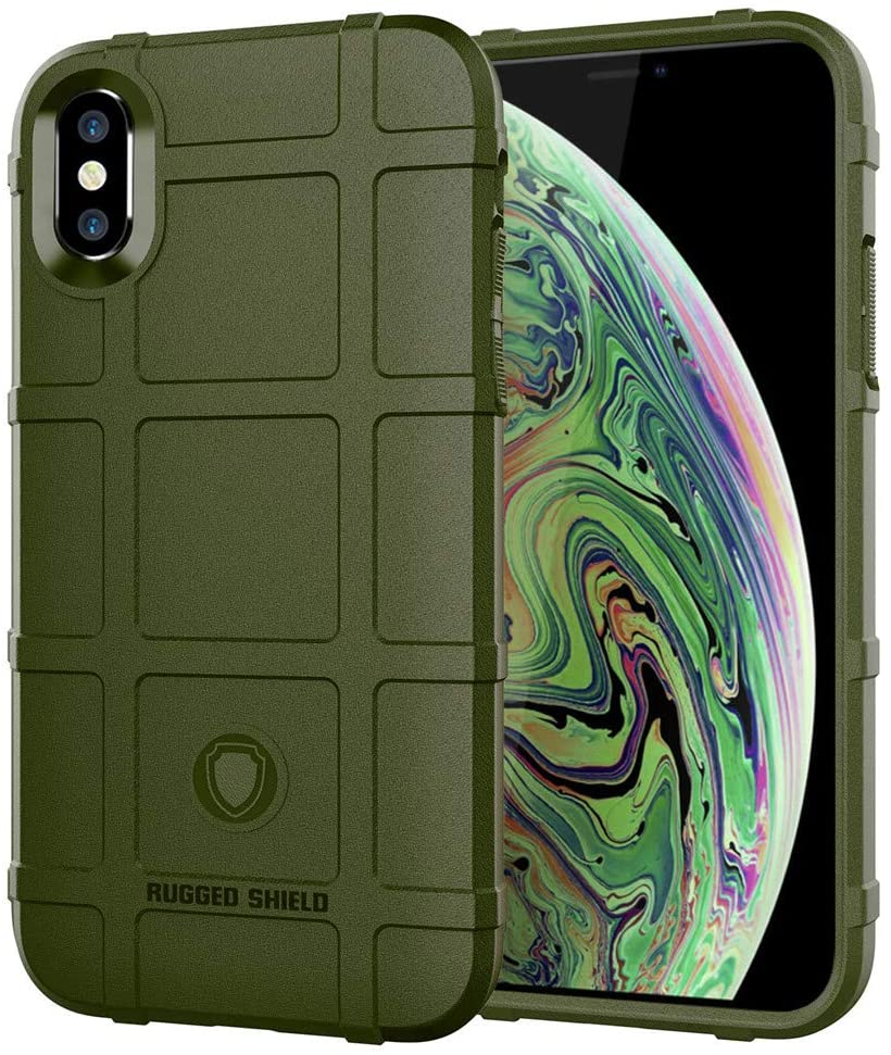 iPhone Xs MAX case, LABILUS (Rugged Shield Series) TPU Thick Solid Rough Armor Tactical Protective Cover Case for iPhone Xs MAX (6.5 inch) - Army Green