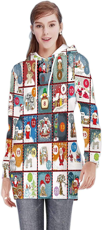 C COABALLA Advent Calendar Calendar,Women's Sweatshirt Casual Long Sleeve Pullover Hoodie Dress Christmas S