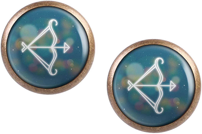 Stud Earring Pair with Cabochon Picture Zodiac sign Sagittarius zodiac Sagittarius bronze different sizes