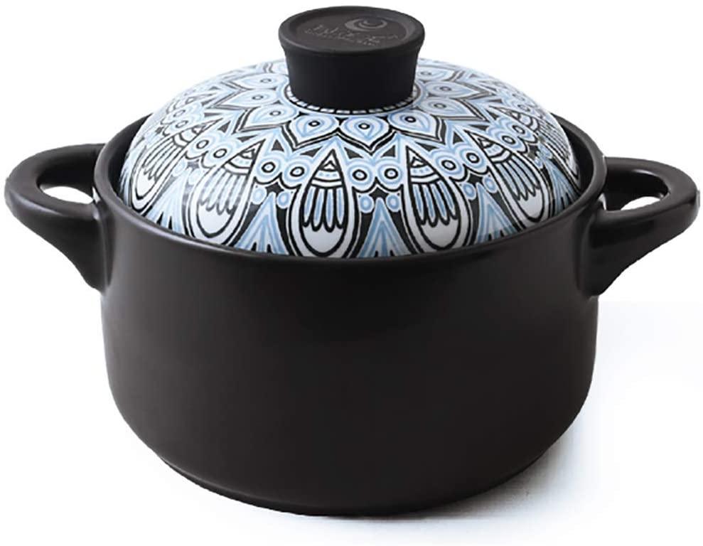 l.e.i. Household Gas Safe Ceramic Cocotte,Japanese Pan Dish Stew Pot,Stone Pot Porridge Small Braising Pan Pan A 2.5 Liter