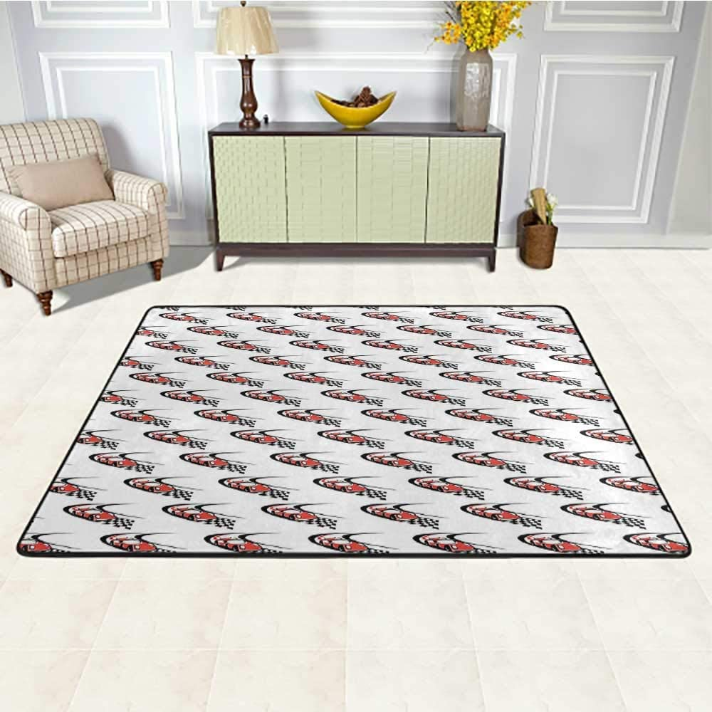 Cars Carpets for Living Room 2' x 3', Speeding Fast Red Race Car on a Formula Rally Near The Finishing Line Wining Printed Rug, Scarlet Black White