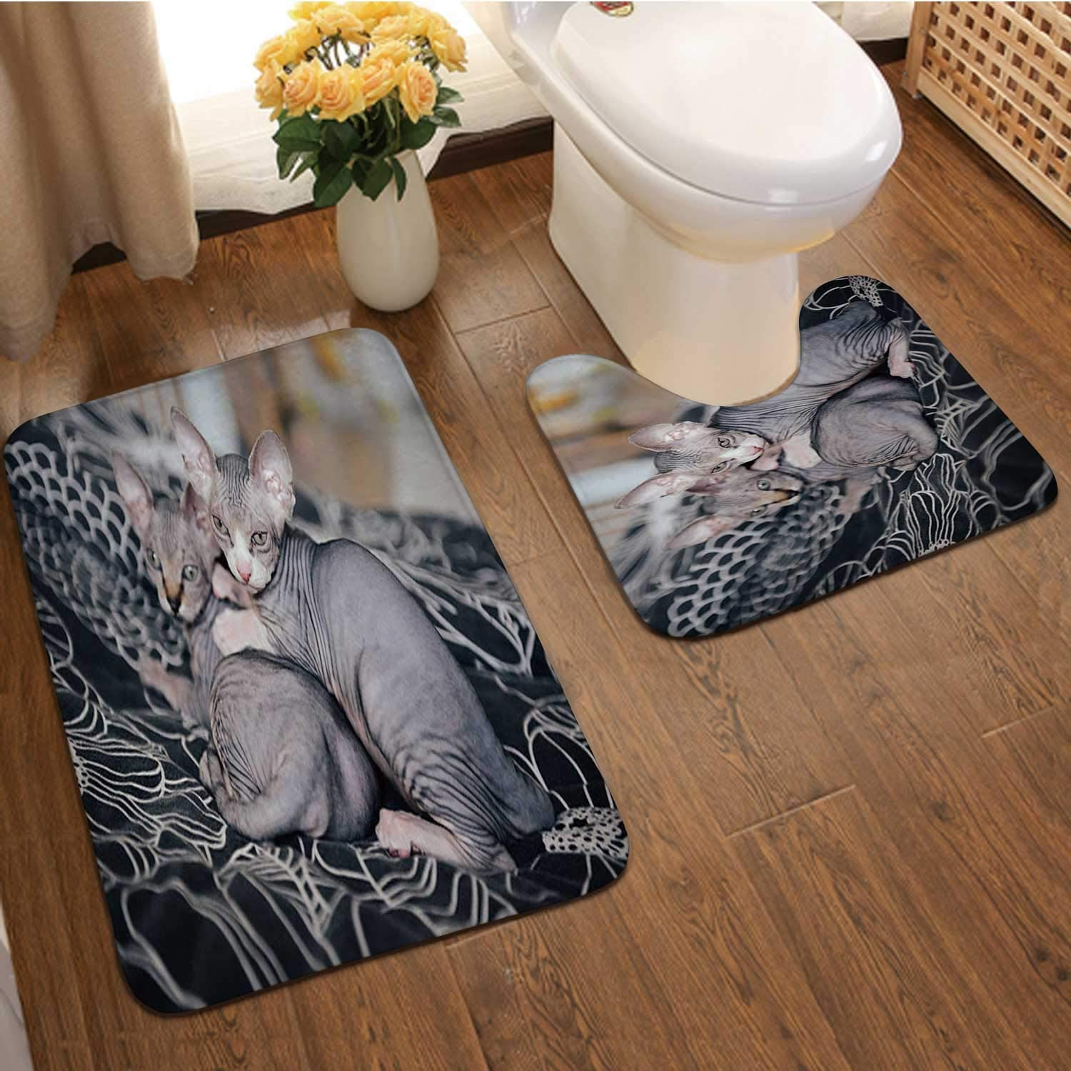 Sphinx cat ling with his Brothers Sphnx Hairless Cat,Bathroom Bath Mat Set, Soft PNon-Skid Shower Rug +Toilet Mat Domestic Cat
