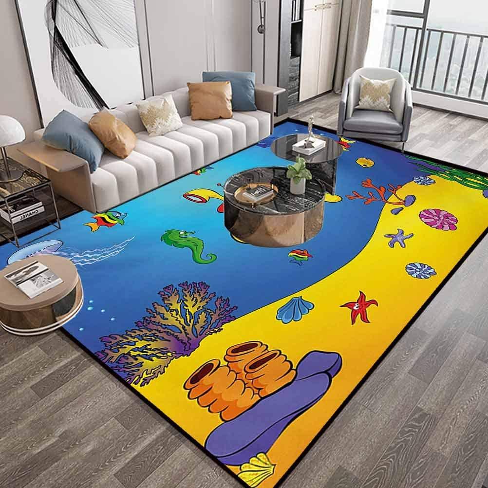 Yellow Submarine Area Carpet 6X9 Feet,Nautical Kids Colorful Fish Underwater Jellyfish Seahorse Shells Starfish,Luxury Large Floor Carpet with Lock-Edge & Non-Slip Base,Blue Yellow