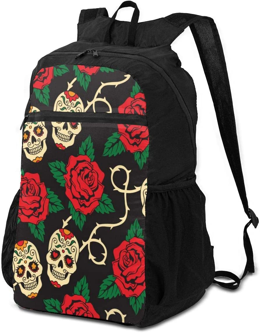 BackpackSugar Skulls Red Rose Flowers Black Backpack School Shoulder Backpacks Casual Daypack