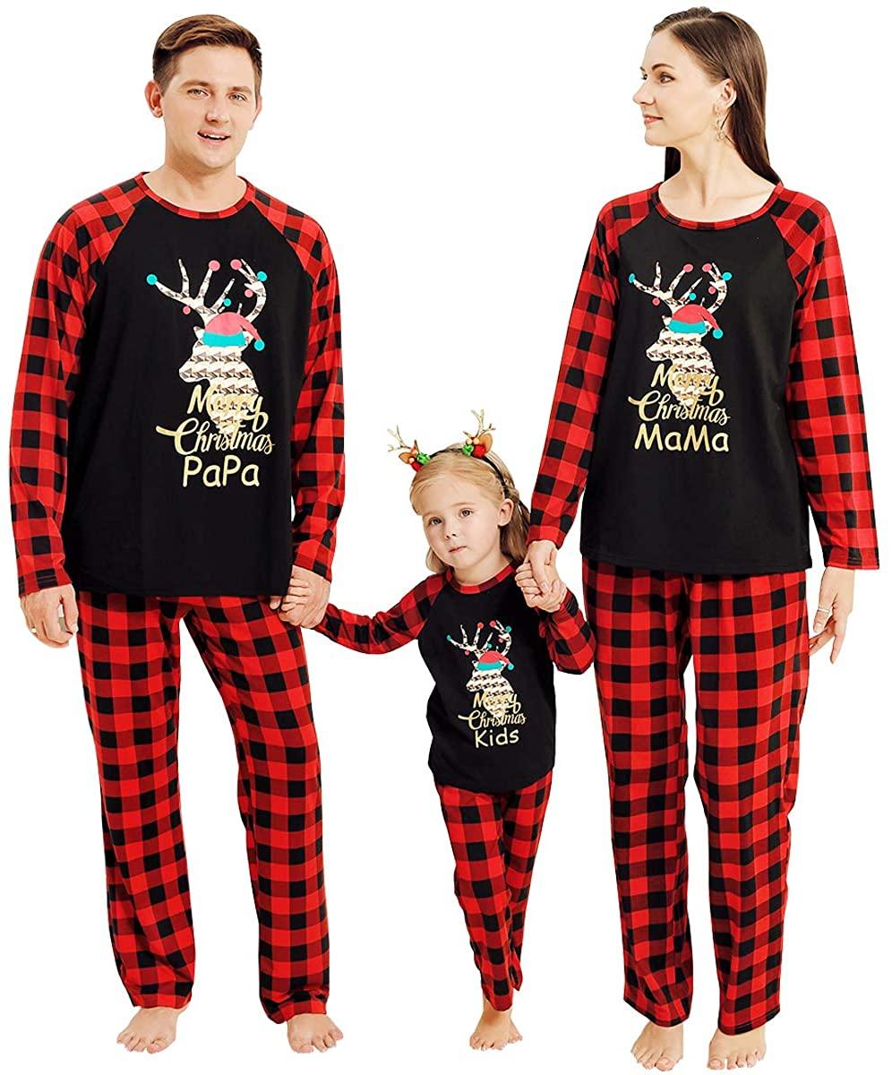 Matching Family Pajamas Sets Christmas PJS Red Plaid Tee and Pants 2-Piece Fall Winter Clothes Loungewear Sleepwear (Women-Medium, Red Plaid)