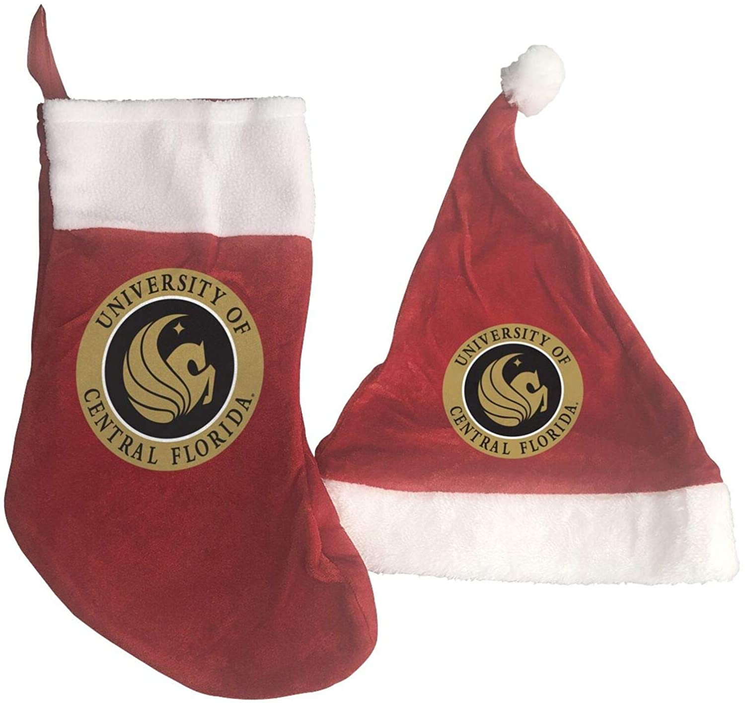 GLleaf University of Central Florida Christmas Hat and Christmas Stocking Santa Socks Red Fireplace Hanging Stockings for Ornaments Family Holiday Xmas Party Decorations