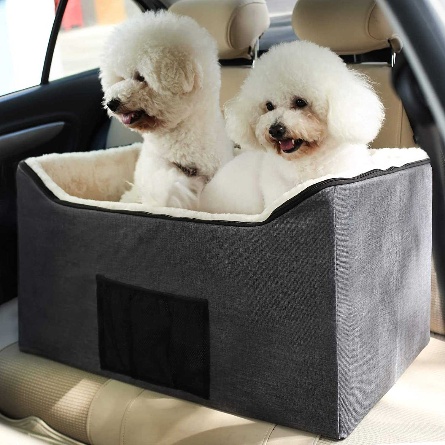 BORKIN Pet Dog Booster Seat, Pet Booster Car Seat for Small Dogs Medium Dogs, Portable Collapsible Dog Car Carrier,Grey,Medium