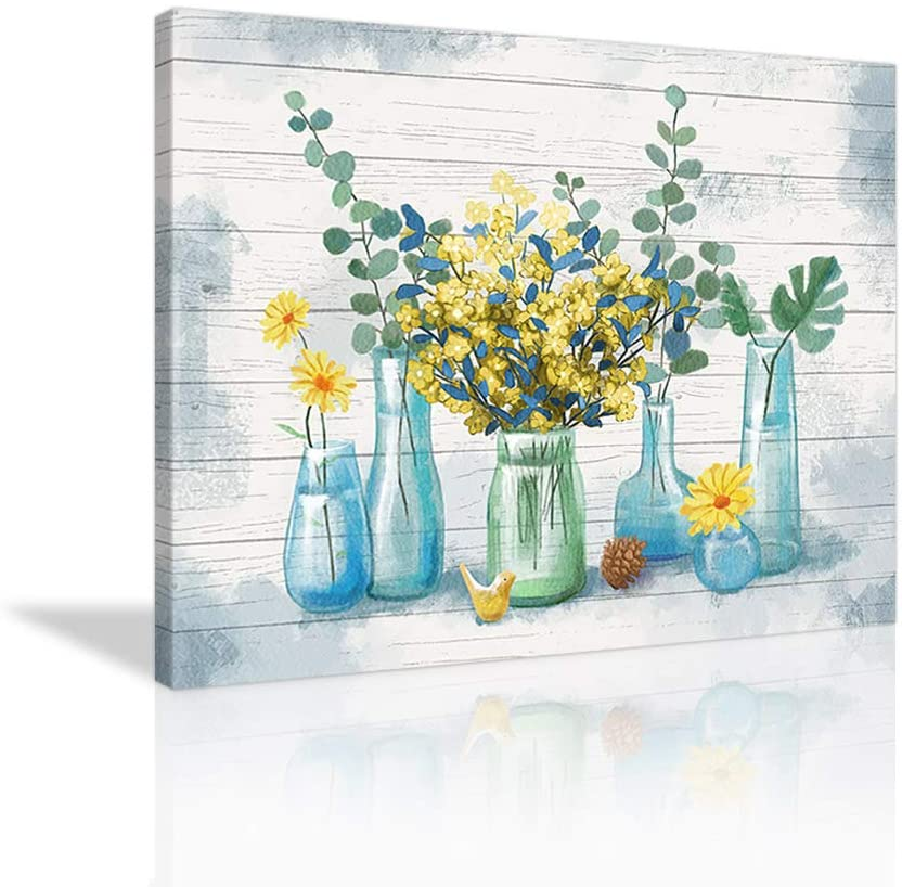 Vintage Flower Farmhouse Wall Art Yellow Flower Paintings Watercolor Yellow Floral Poster Picture Prints Canvas Wall Decor for Home Office Bathroom Decoration Framed Ready to Hang- 36x24