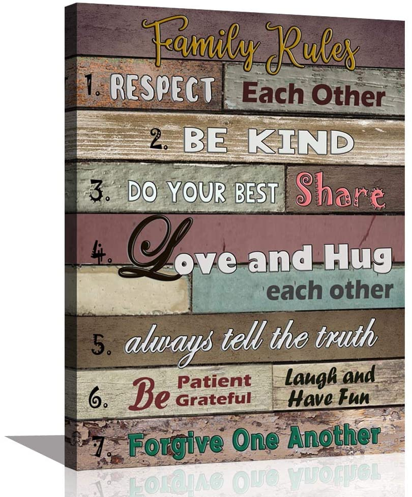 ARTSPIRIT Inspirational Wall Art Motivational Quotes Poster Canvas Art Print Family Rules for Dining Kitchen Kids Room Home Decoration