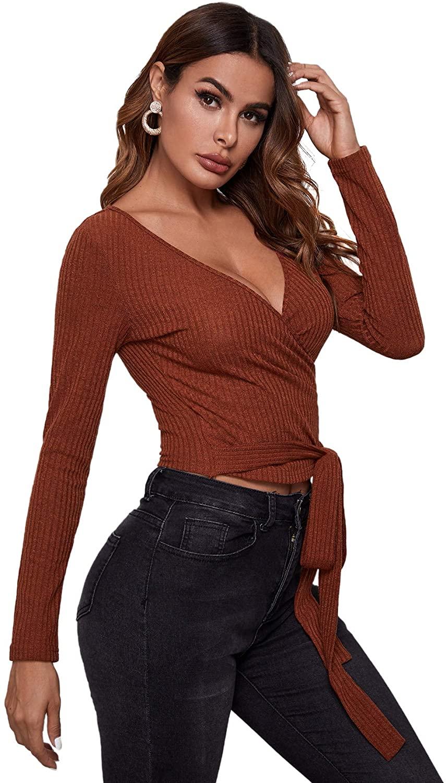 Verdusa Women's Knot Front Surplice Neck Long Sleeve Wrap Top Tee T Shirt