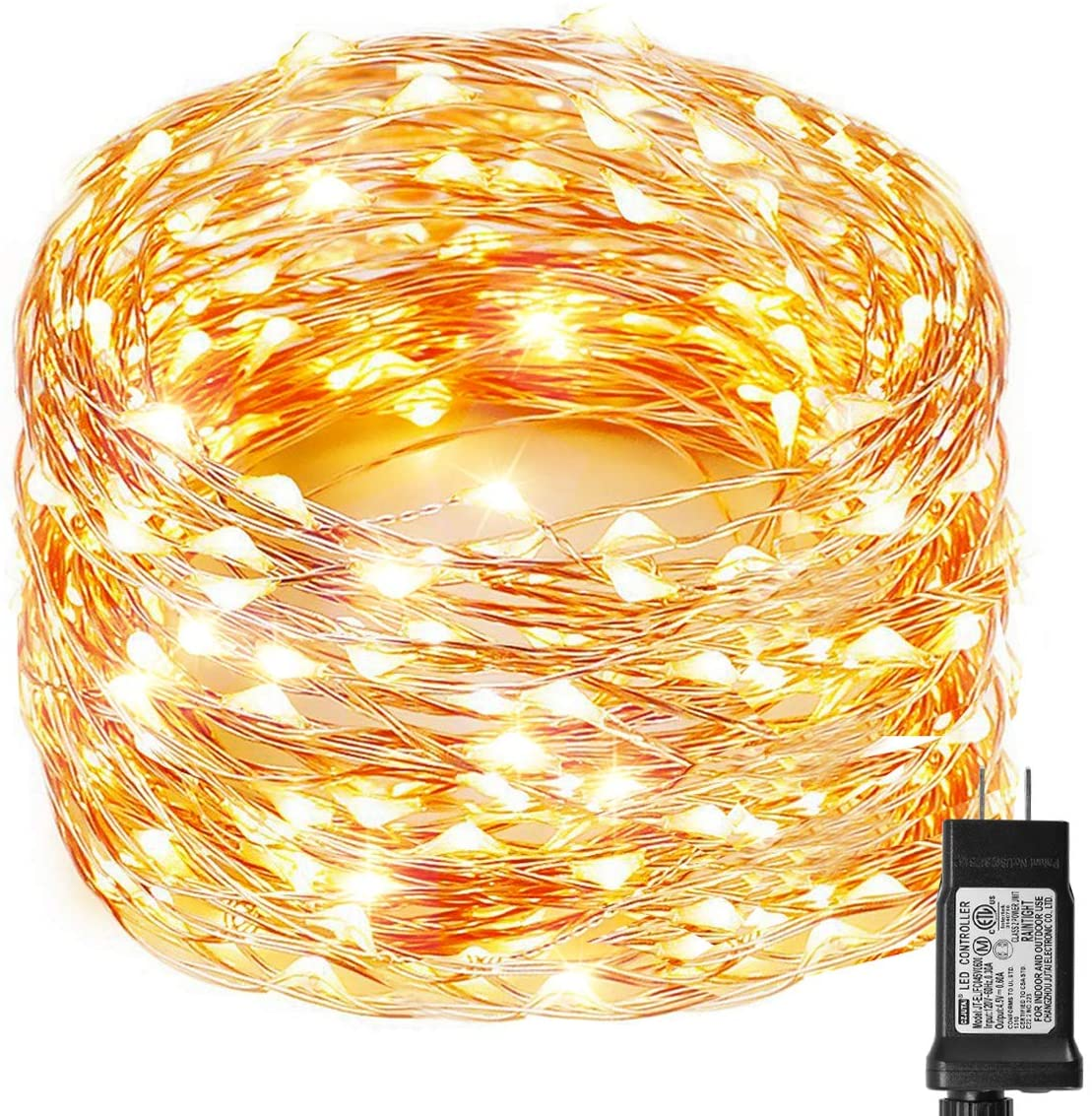 Decute 99ft 300 LEDs Twinkle String Lights Copper Wire Christmas Fairy Lights, 8 Modes Starry Lighting with UL Certified for Party Wedding Bedroom Christmas Tree, Warm White