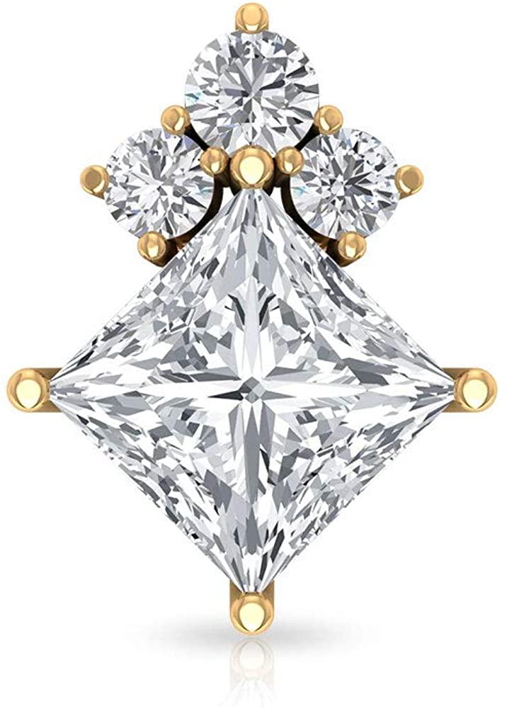 Princess Cut Diamond Stud Earring, SGL Certified 0.45 Ct Diamond Cluster Earring, Dainty Cartilage Earring, Helix Piercing, Body Jewellery, Body Jewellery, Single Piece, 18K Gold