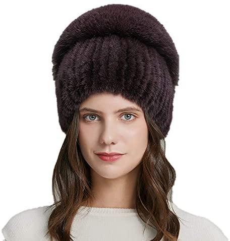 OG-Renstky Natural Mink Fur Women Winter Hats Real Fox Fur Fashion Flower Bead Girl Bonnet Warm Elastic Ladies