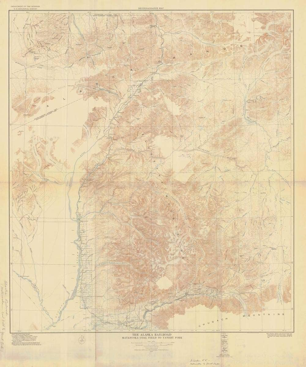 Vintography Reprinted 8 x 12 Nautical Map of The Alaska Railroad YANERT Fork to Fairbanks 0 US Geological Survey 25a