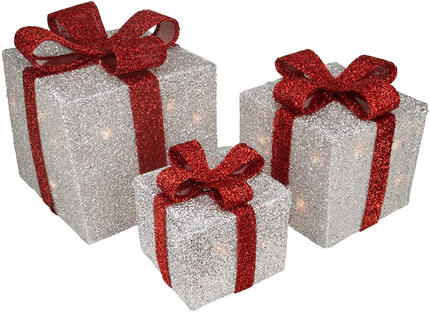 Northlight Set of 3 Silver Tinsel Lighted Gift Boxes with Red Bows Outdoor Christmas Decorations