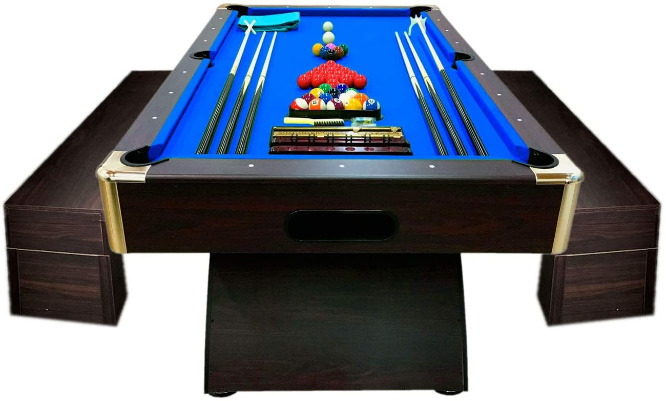 SIMBASHOPPING USA 8' Feet Billiard Pool Table Full Accessories Game Bellagio Blue 8FT with Benches