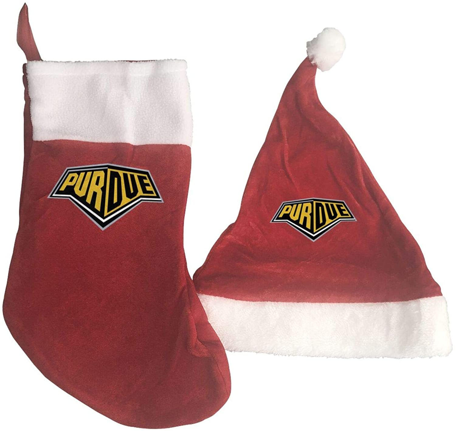 GLleaf Purdue University Logo Christmas Hat and Christmas Stocking Santa Socks Red Fireplace Hanging Stockings for Ornaments Family Holiday Xmas Party Decorations