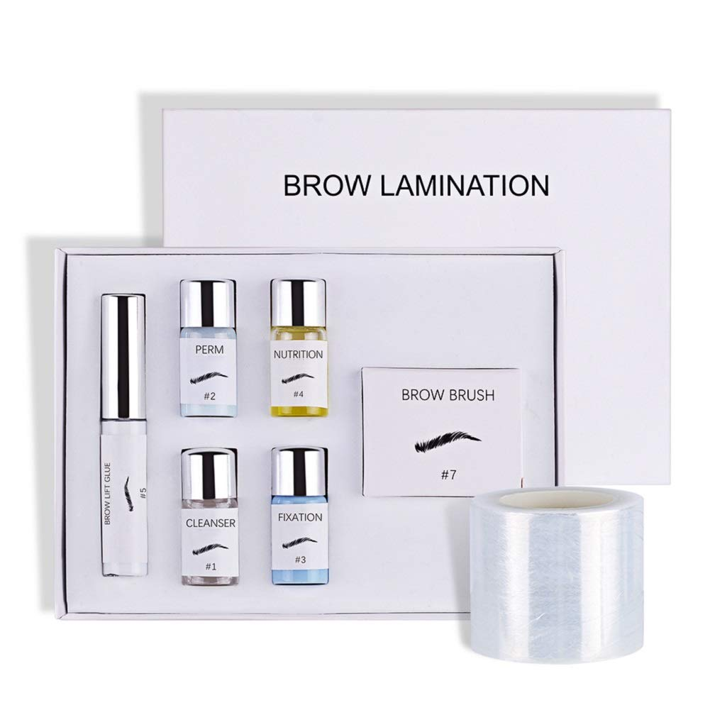 Eyebrow Lamination Kit, Professional Brow Lift Kit, DIY Perm Kit for Fuller Feathered Eyebrows, Eyebrow Salon at Home, Easy to Use, Long Lasting, Y Brush and Film Included