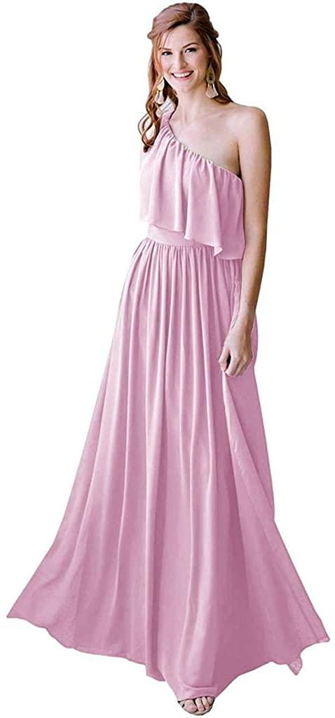 yinyyinhs Women's One Shoulder Ruffle Bridesmaid Dresses Long A-line Chiffon Beach Wedding Guests Gowns