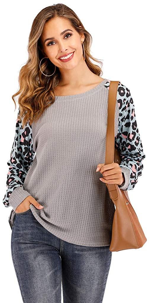 Centory Womens Long Sleeve Tops Crew Neck Tunics Casual Elegant Leopard Shirts Raglant Basic Shirts Soft Tunics Top