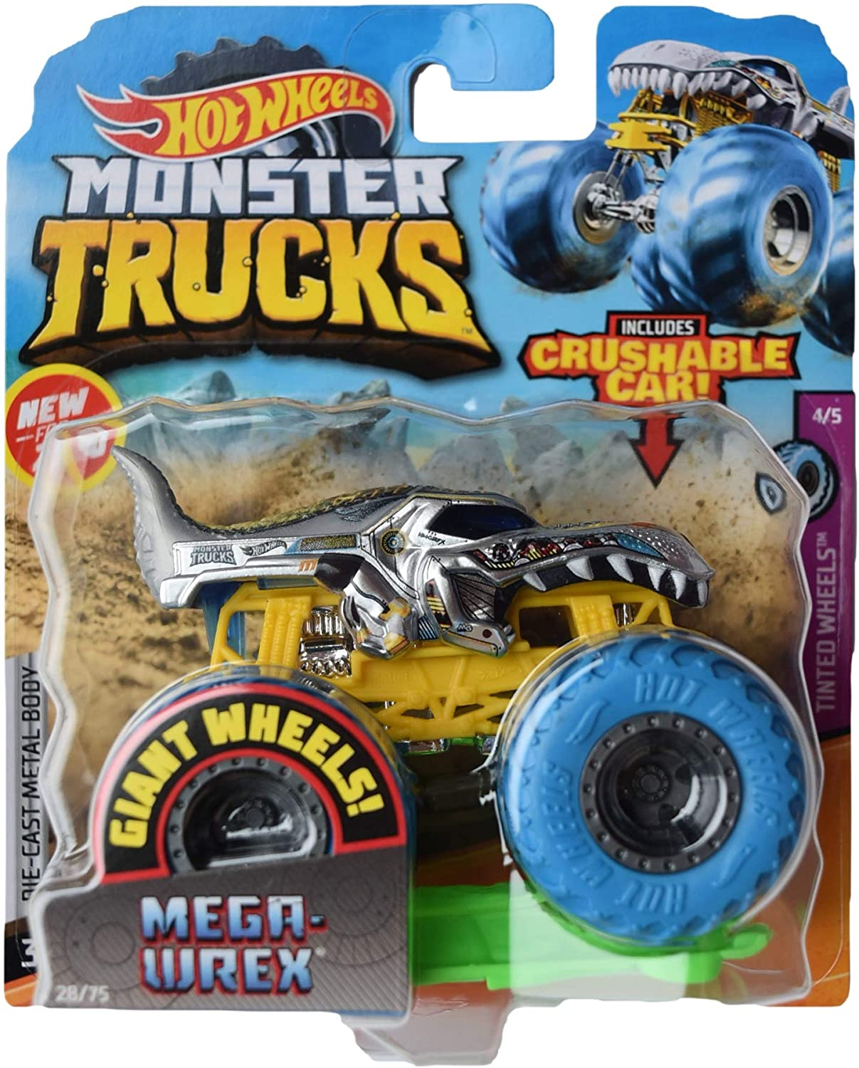 Hot Wheels Monster Trucks 1:64 Scale Mega Wrex 28/75 Includes Crushable Car, Gray with Blue Wheels