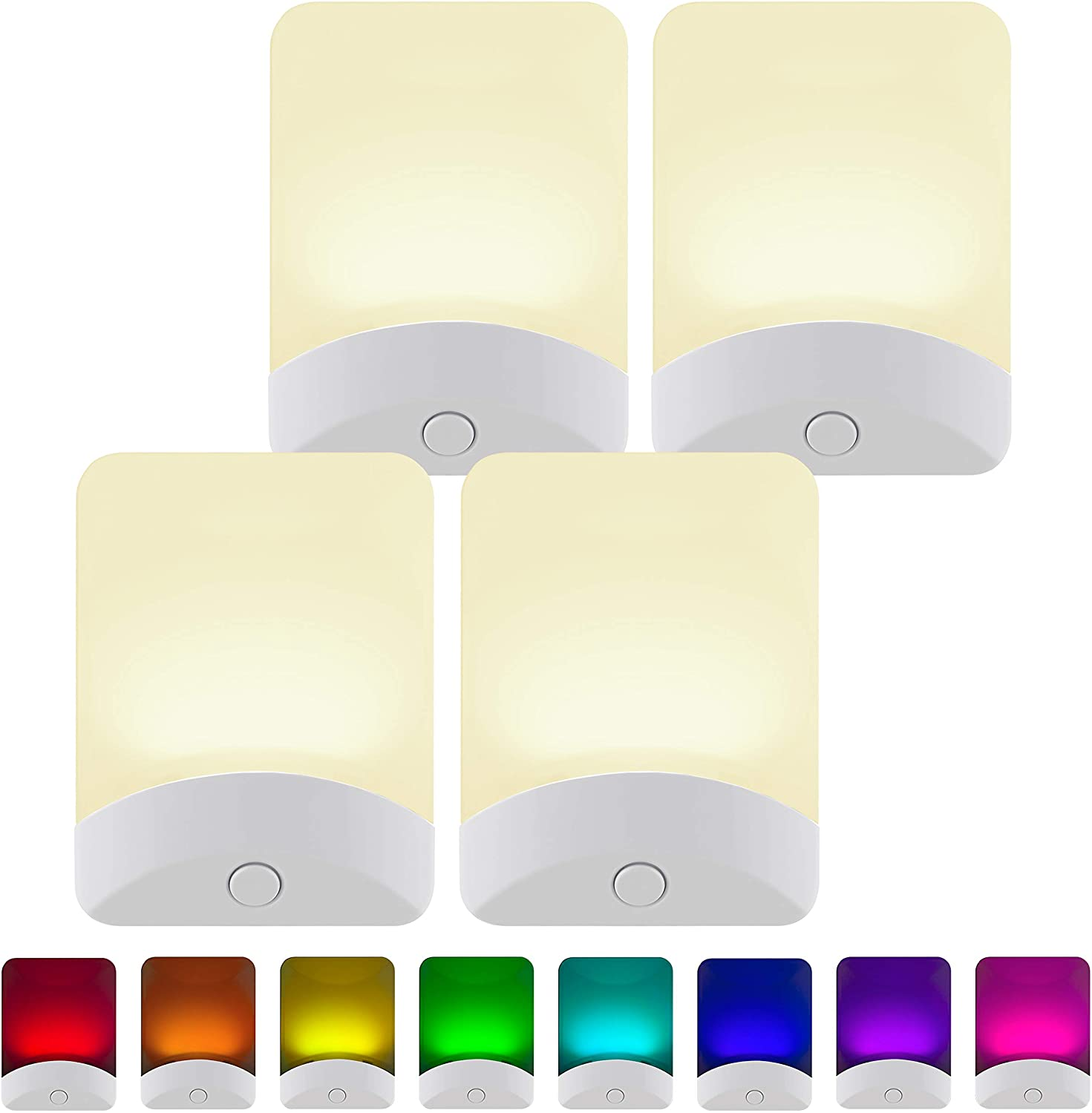 GE White Color-Changing LED Night Light, 4 Pack, Plug-in, Dusk-to-Dawn, Home Décor, UL-Listed, Ideal for Bedroom, Bathroom, Nursery, Kitchen, 50860, 4 Count