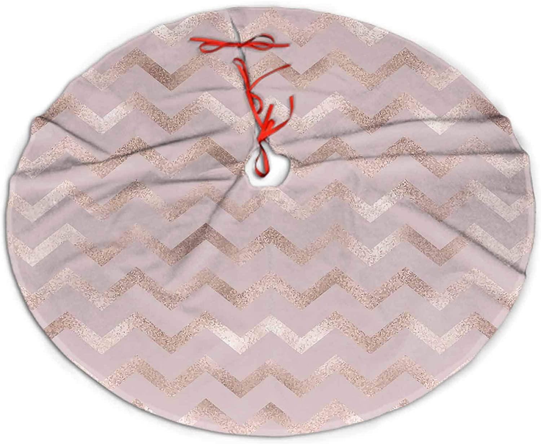 Christmas Tree Skirt Geometric Rose Gold Chevron Pattern Luxury Tree Skirts for Home Decoration 48