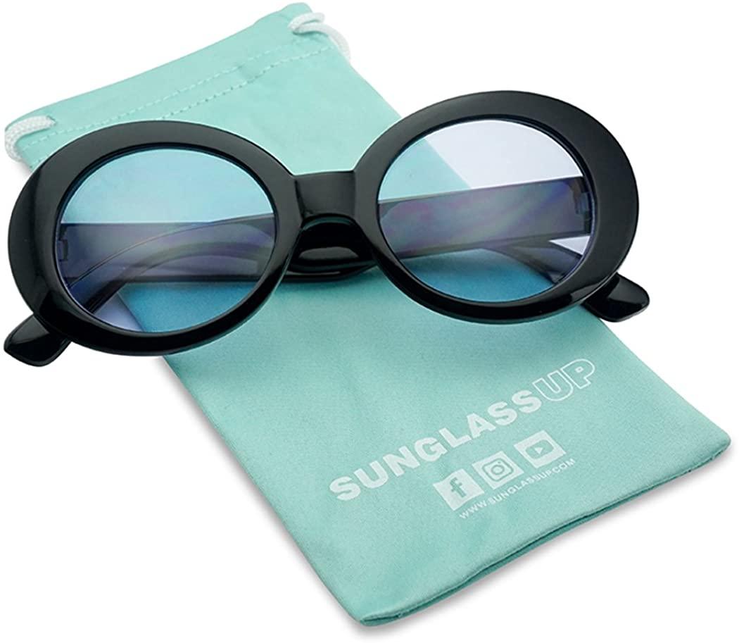 SunglassUP - Retro Bold Arms Color Tinted Oval Lens Novelty Sunglasses 50mm (Black   Blue)
