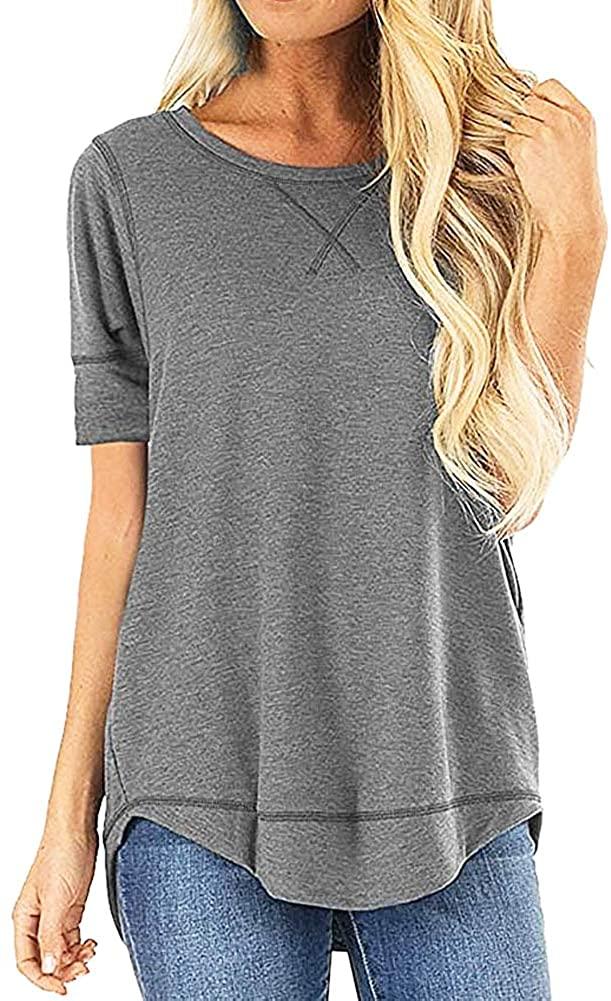 ZPZZ Women Tunic Tops Short Sleeve Side Split O-Neck Casual Loose Tunic Top T-Shirts Tunics Work Blouses (S-XXL)