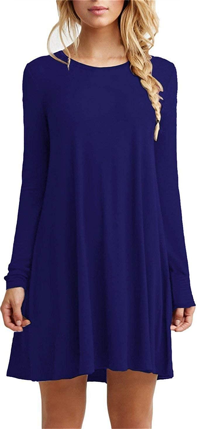 TOPONSKY Women's Casual Plain Simple T-Shirt Loose Dress