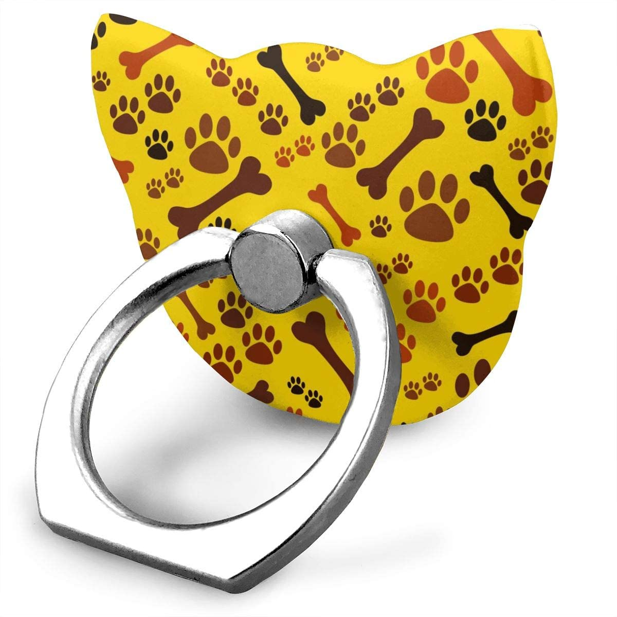 Universal Phone Ring Holder Cute Puppy Dog Paw and Bone Animal Yellow Red Adjustable 360°Rotation Cat Shape Finger Grip Loop Cell Phone Stand for Phone X/6/6s/7/8/8/10/11 Plus Android Smartphone