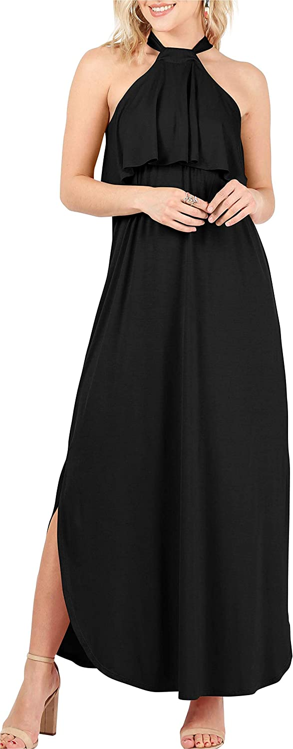 Womens Halter Maxi Dress Regular and Plus Size Sleeveless Long Dress with Side Slit - Made in USA