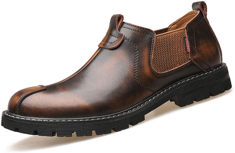 QLT Men's Chesil Boots, Business Shoes,Artificial Leather (Color : Brown-A, Size : US 7/UK 6/EU 39/JP 24.5)