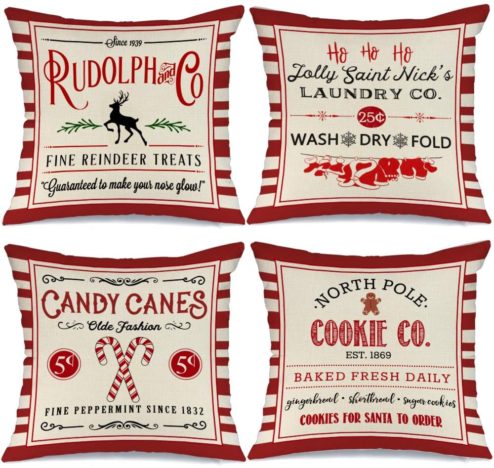 AENEY Christmas Pillow Covers 20x20 Set of 4, Red Stripe Rustic Winter Holiday Throw Pillows Farmhouse Christmas Decor for Home, Xmas Decorations Cushion Cases for Couch A304-20