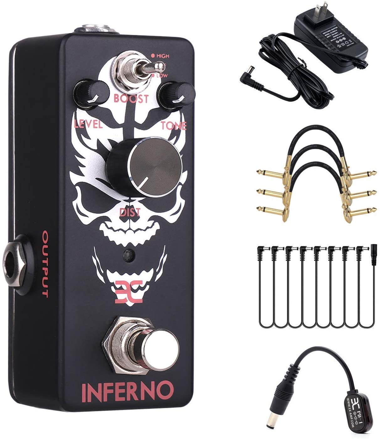 EX Inferno Metal Distortion Pedal and Power Supply and Cables Bundle