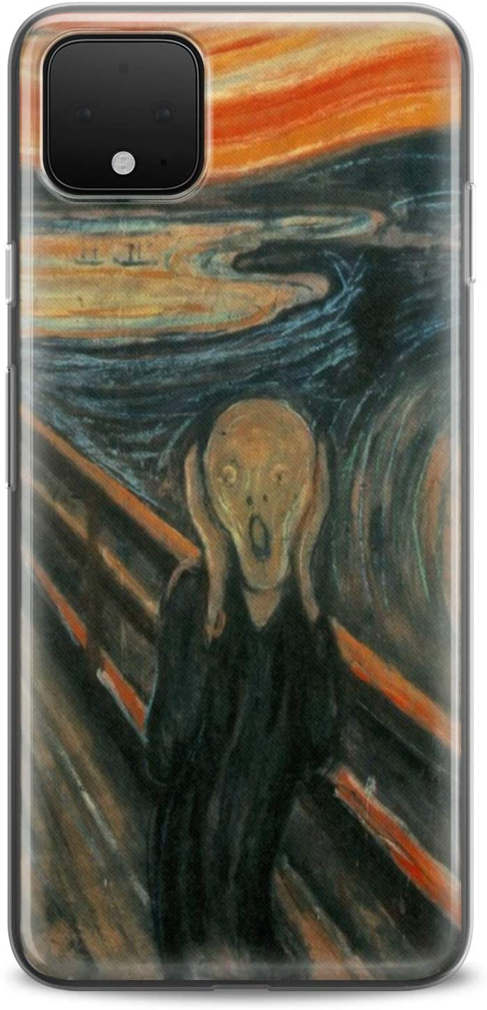 Cavka TPU Case Compatible with Google Pixel 5 XL 4a 5G Top Cover 2 XL 3 XL 3a XL 4 XL Drawings Picture Scream Slim fit Soft Design Edvard Munch Clear Artistic Cute Flexible Silicone Print Watercolor