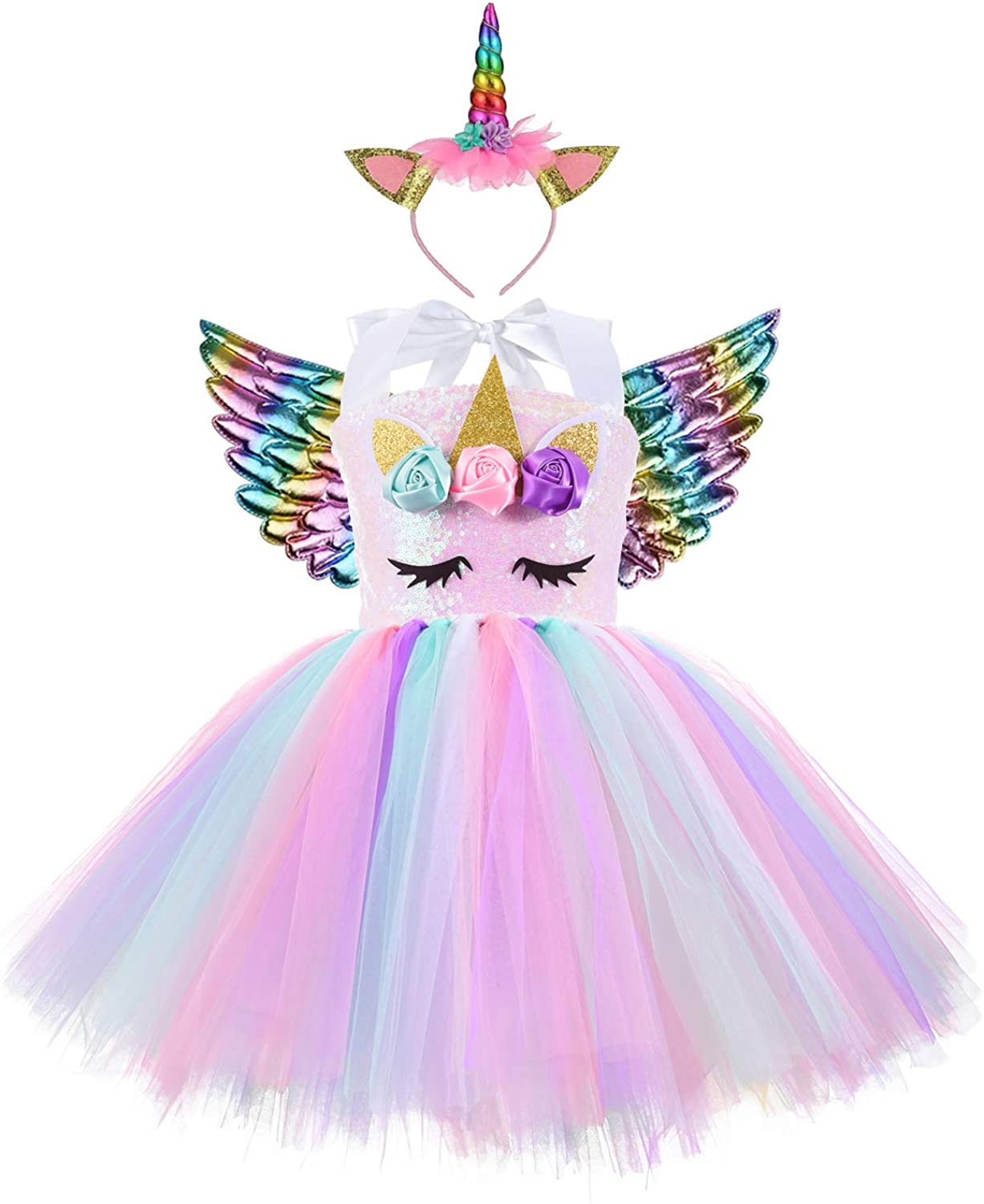 Unicorn Costume for Girls Baby Unicorn Tutu Dress Outfit Princess Party Costumes with Headband and Wings