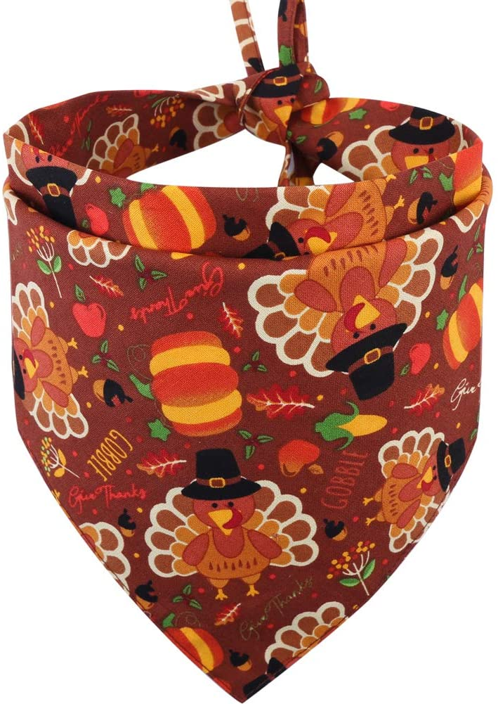 Thanksgiving Dog Bandana Fall Autumn Reversible Triangle Bibs Scarf Accessories for Dogs Cats Pets