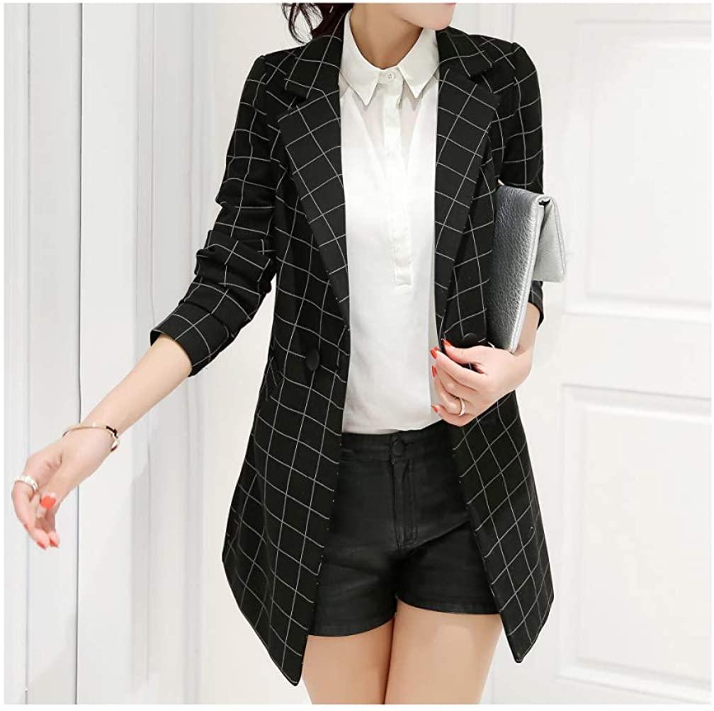 Women's Long Plaid Blazers Fashion Suit Jackets Outerwear Spring Autumn Female Slim Coat Plus Size Clothing Outerwear