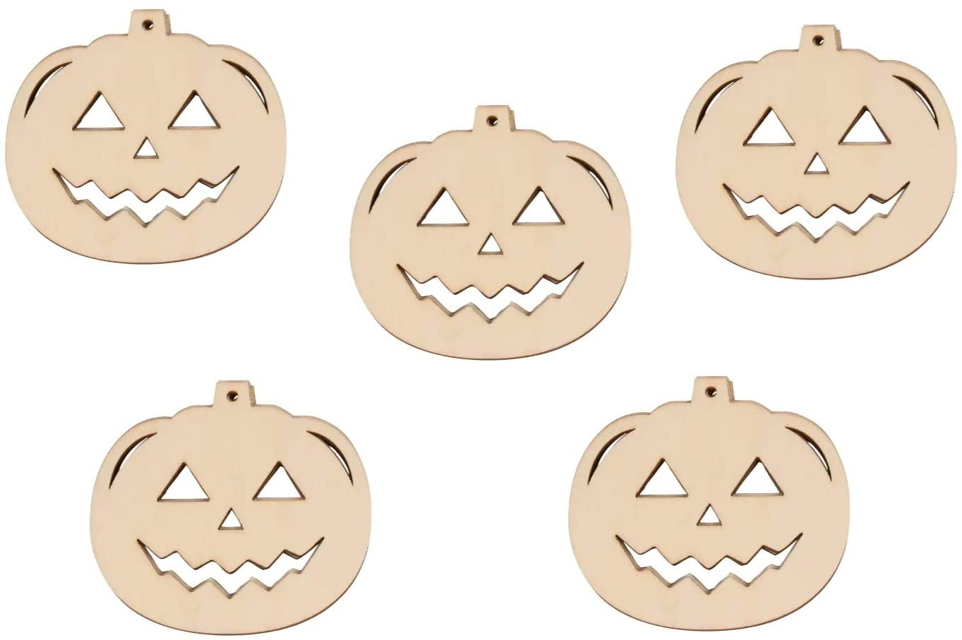 Set of Natural Wood Halloween Pumpkin Jack-o'-Lantern Shaped Cutouts - Holiday DIY Crafting Color Decorate Your Own Ornament Kit