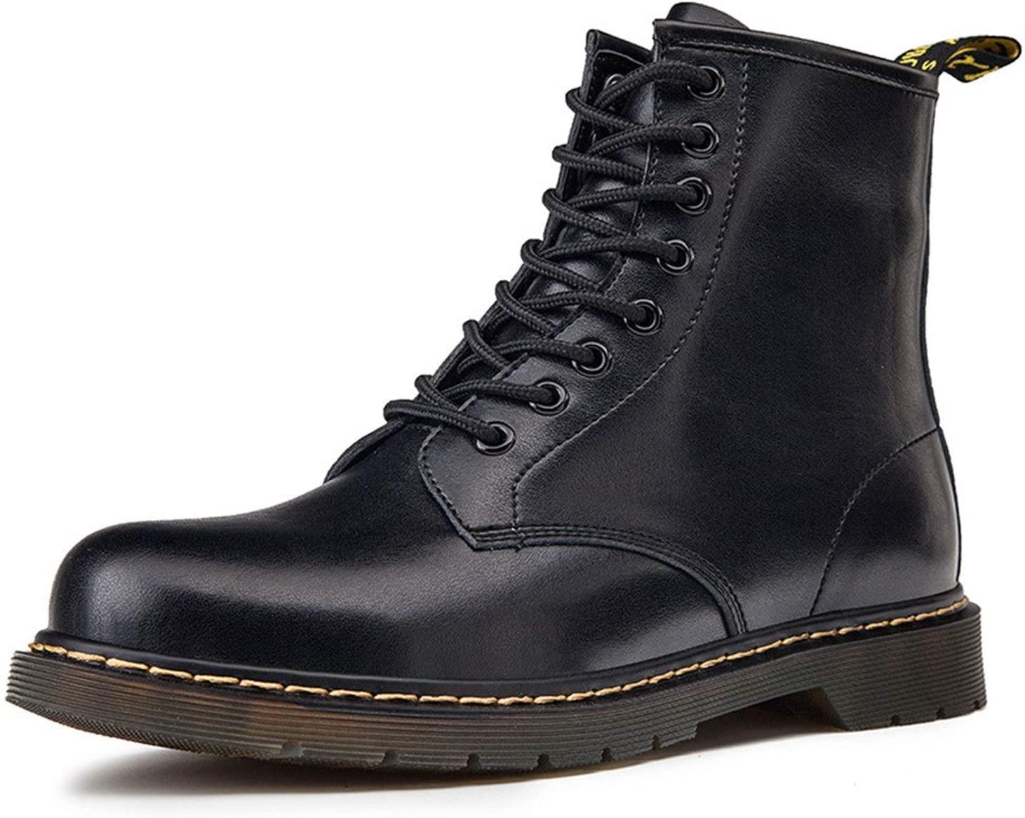 QLT Men's Martin Boots,Waterproof Boot,Stylish 8-Eye Leather Shoes (Color : Black, Size : US 6.5/UK 5.5/EU 38/JP 24)