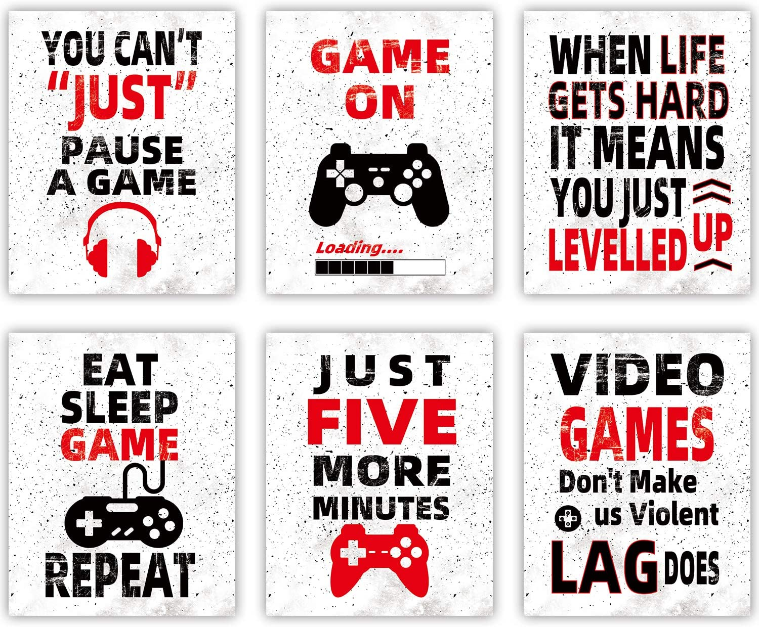 """HOMIEVAR Video Game Wall Art Funny Gaming Poster Canvas Game Decoration for Kids Boy Room Playroom Home Decor,No Frame Set of 6(10 """"X8 """")"""